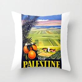Palestine, vintage travel poster Throw Pillow