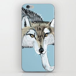 Totem Hokkaido grey wolf (Blue) iPhone Skin