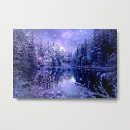 Lavender Winter Wonderland : A Cold Winter's Night Metal Print
