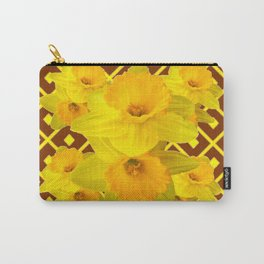 Coffee Brown Pattern of Golden Daffodils Art Carry-All Pouch