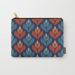 Blue & Red Retro Trefoil Pattern Carry-All Pouch