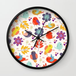 Colorful Cute Little Birds And Flowers Pattern  Wall Clock