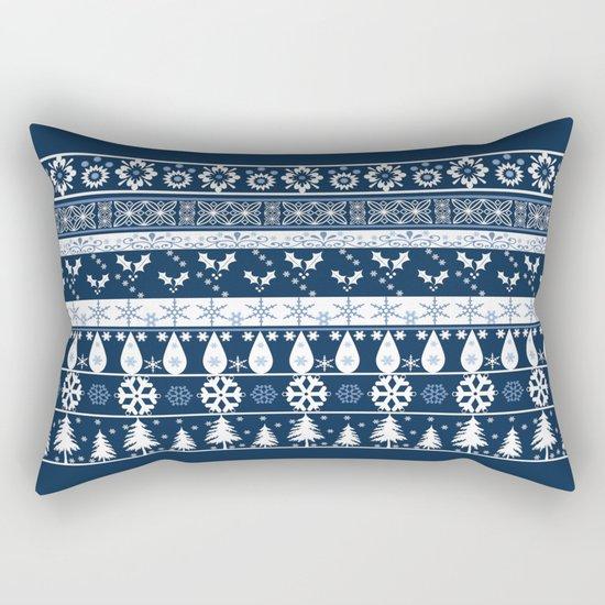 Retro . Christmas pattern . Blue background . Rectangular Pillow