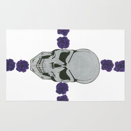 skull with purple rose cross Rug