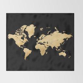 Sleek black and gold world map Throw Blanket