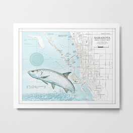 "Sarasota Florida ""Tarpon"" Area road map Metal Print"
