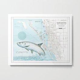 """Sarasota Florida """"Tarpon"""" Area road map Metal Print"""