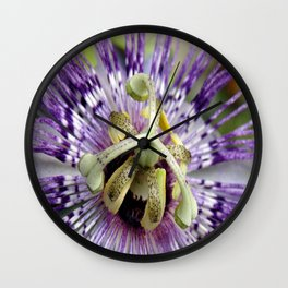 Purple Passion Flower Close Up Wall Clock