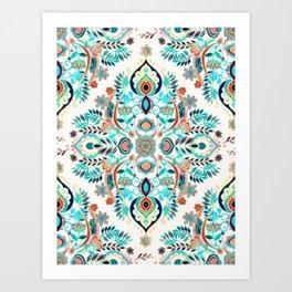 Modern Folk in Jewel Colors Art Print