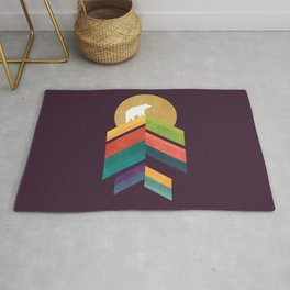 Lingering mountain with golden moon Rug