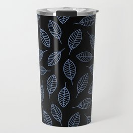 Blue Leafs Pattern Travel Mug