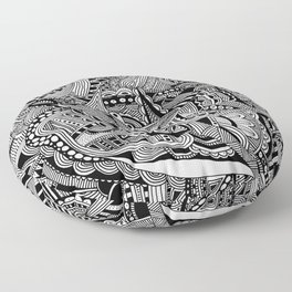 Black and White Doodle Art #2 Floor Pillow