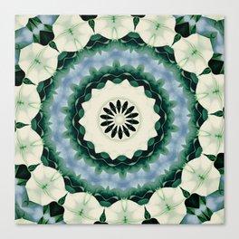 Cerulean Blue and Sacramento Green Mandala Canvas Print