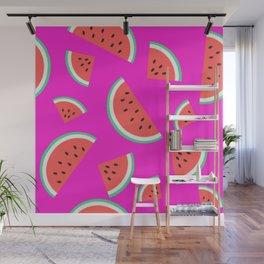 Watermelon Summer Pattern - fuchsia Wall Mural