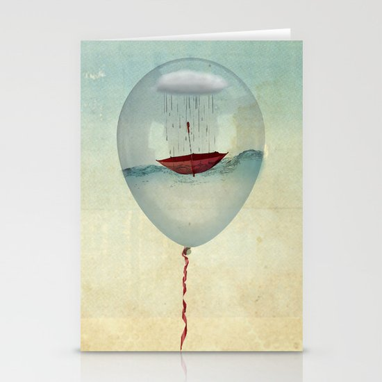 embracing the rain in a bubble Stationery Cards