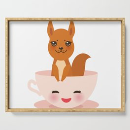 Cute Kawai pink cup with red squirrel Serving Tray