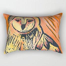Orange owl lino print, bird of prey lino print Rectangular Pillow