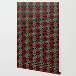 Geometric Pattern #69 (red & turquoise 1970s) Wallpaper