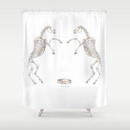 boxing horse skeletons Shower Curtain