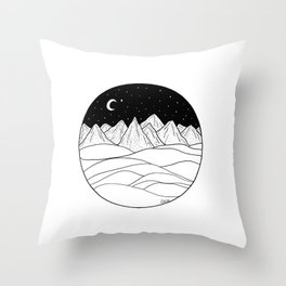 Mountains and the Moon Throw Pillow