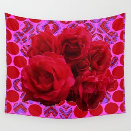 CLUSTER OF RED ROSES ON  RED-VIOLET ABSTRACT Wall Tapestry
