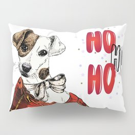 Hand Drawn Jack Russell Terrier Dog Portrait Snuggled in Plaid Blanket Pillow Sham