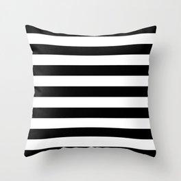 Black and White Medium Stripes Pattern Throw Pillow