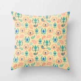 Cream Ikat Doodle Pattern Throw Pillow
