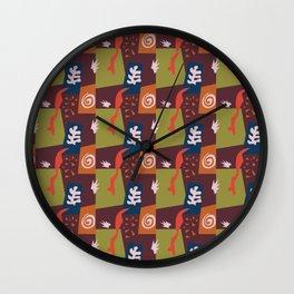 Matisse inspired repeat in port wine Wall Clock
