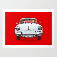 porsche Art Prints featuring Porsche by Michael Constantine