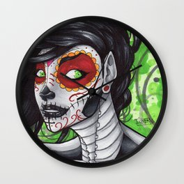 Day of the Dead Bust  Wall Clock
