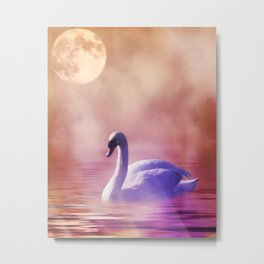 White Swan floating on a misty lake Metal Print