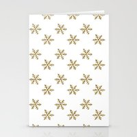 golden girls Stationery Cards featuring Golden snowflakes by Better HOME