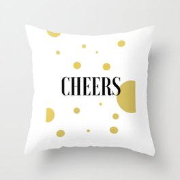 POP FIZZ CLINK Black And Gold Party Decorations Champagne Gift Champagne Quotes Cheers Sign Printabl Throw Pillow