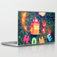 home sweet home Laptop & iPad Skins featuring HOME by Julia Kovtunyak