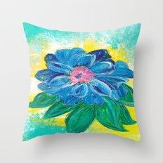 BLUE PEONY Throw Pillow
