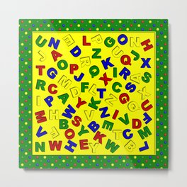 Primary Polka Dots GREEN Alphabet Metal Print