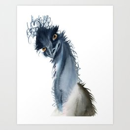 Funny ostrich Art Print