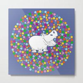 Happy Hippo Metal Print
