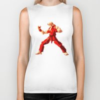 street fighter Biker Tanks featuring Street Fighter II - Ken by Carlo Spaziani