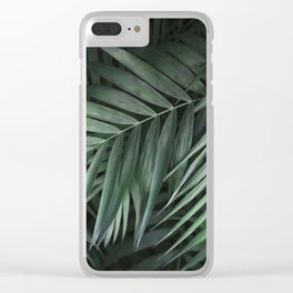 Elegant Green Tropical Leaves Clear iPhone Case