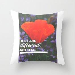 Different Not Less Autistic Child Autism Parent Throw Pillow
