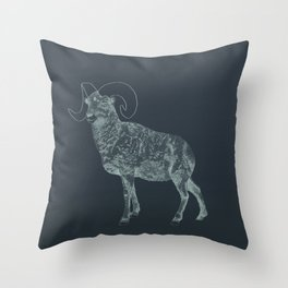 Blue Ram Throw Pillow