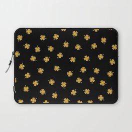 Golden shamrocks Black Background Laptop Sleeve