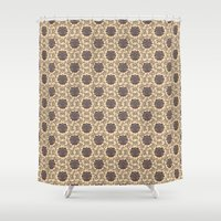 sesame street Shower Curtains featuring Floral Damask Sesame by Kippy