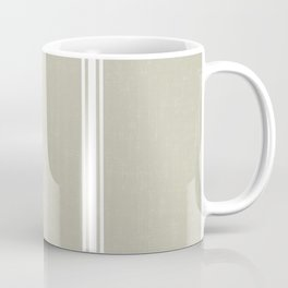 White Stripes on Linen color background French Grainsack Distressed Country Farmhouse Coffee Mug