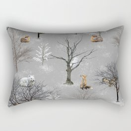Owls and Foxes in Snowy Trees Rectangular Pillow