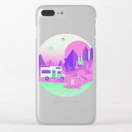 Outer Space Camping Clear iPhone Case