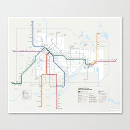 Future Minneapolis & St. Paul Transit Map  Canvas Print