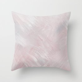Feathered, Pink and Blue Brushstroke Minimalist Artwork Throw Pillow